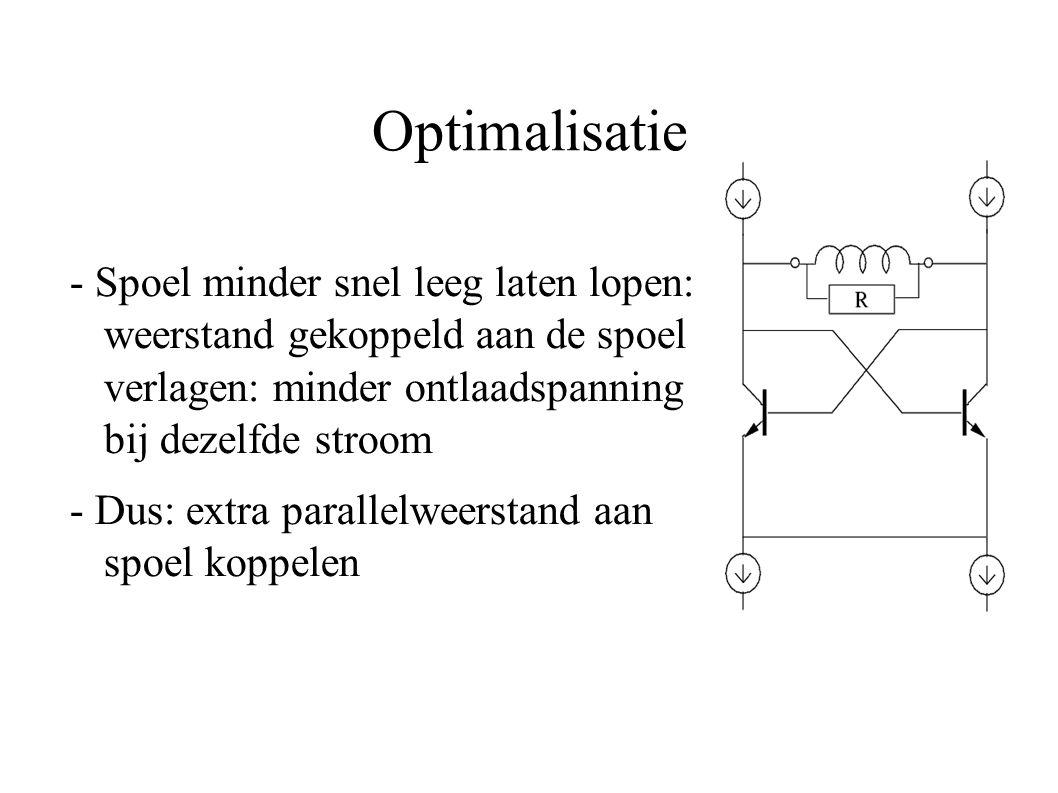 Optimalisatie - Spoel minder snel leeg laten lopen: weerstand gekoppeld aan de spoel verlagen: minder ontlaadspanning bij dezelfde stroom - Dus: extra parallelweerstand aan spoel koppelen