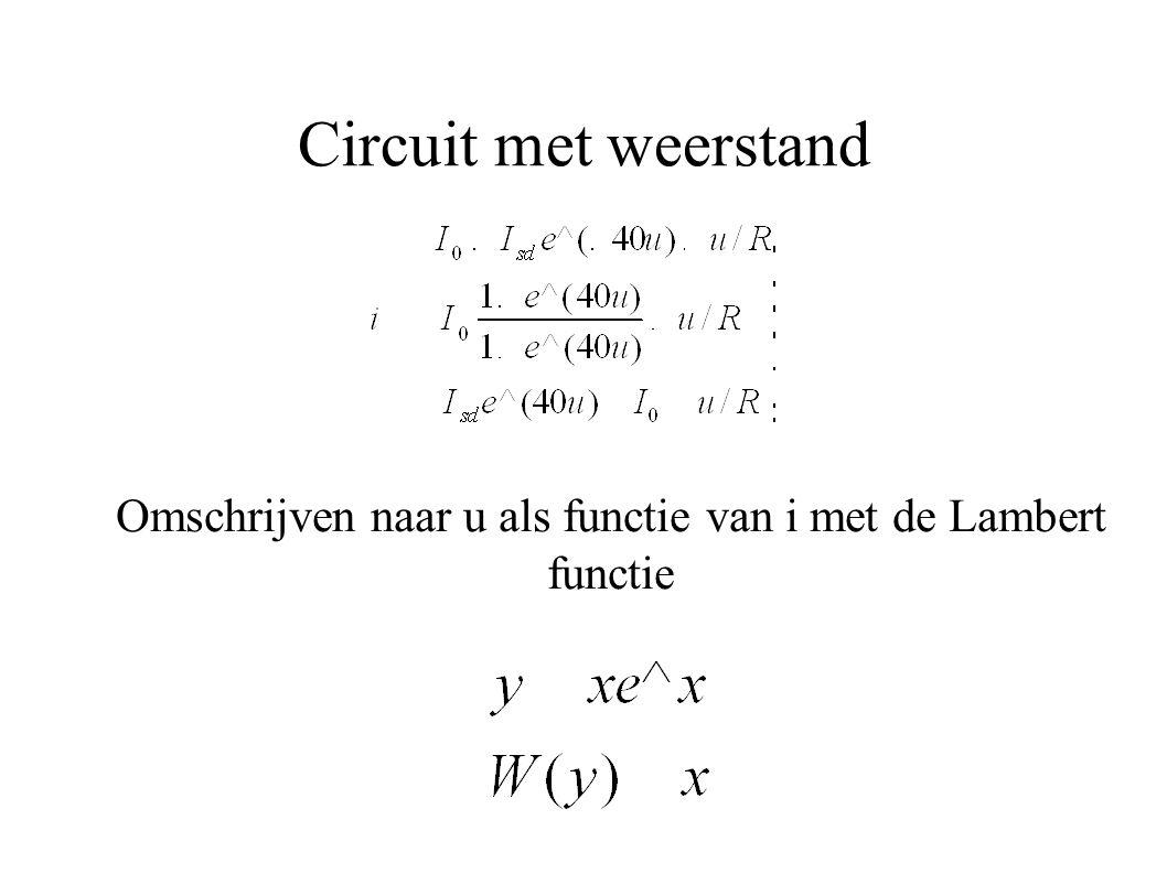 Omschrijven naar u als functie van i met de Lambert functie