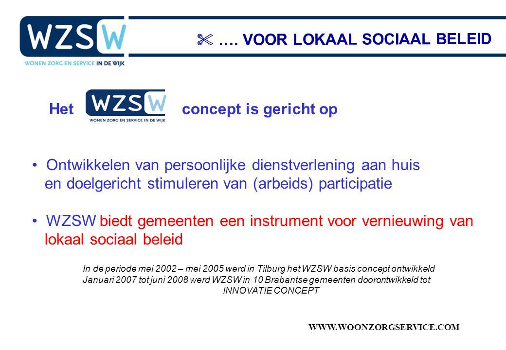WWW.WOONZORGSERVICE.COM Het concept is gericht op Ontwikkelen van persoonlijke dienstverlening aan huis en doelgericht stimuleren van (arbeids) partic