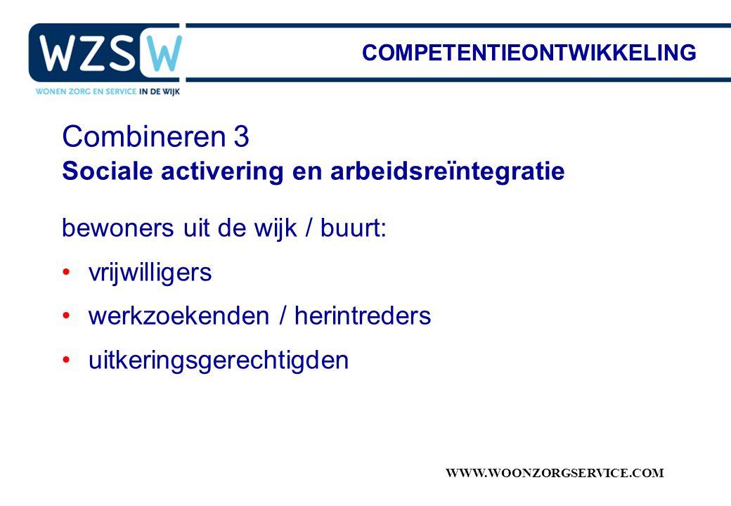 WWW.WOONZORGSERVICE.COM Combineren 3 Sociale activering en arbeidsreïntegratie bewoners uit de wijk / buurt: vrijwilligers werkzoekenden / herintreder