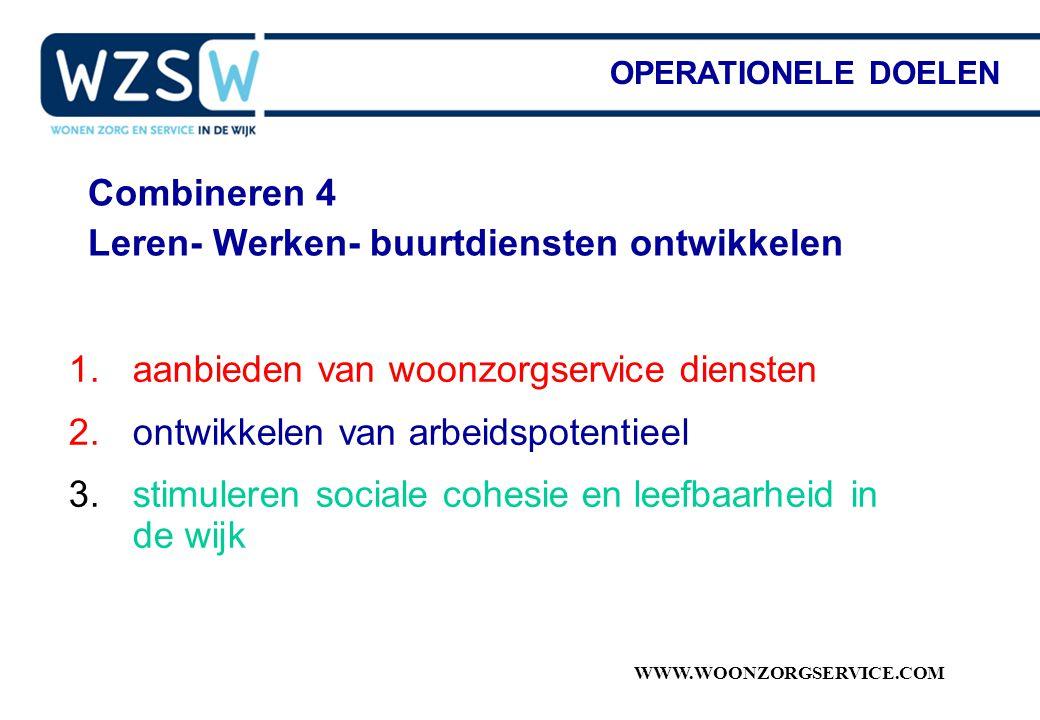WWW.WOONZORGSERVICE.COM Combineren 4 Leren- Werken- buurtdiensten ontwikkelen OPERATIONELE DOELEN 1.aanbieden van woonzorgservice diensten 2.ontwikkel