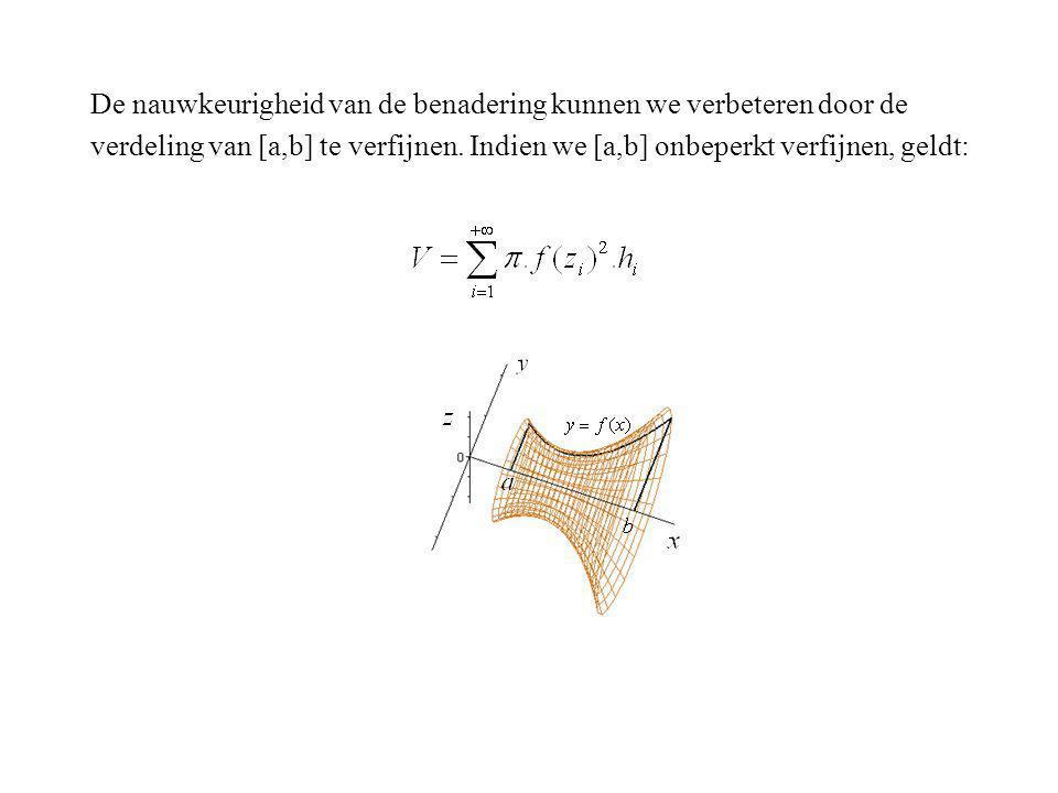 De nauwkeurigheid van de benadering kunnen we verbeteren door de verdeling van [a,b] te verfijnen. Indien we [a,b] onbeperkt verfijnen, geldt: