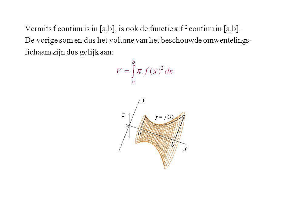Vermits f continu is in [a,b], is ook de functie π.f 2 continu in [a,b]. De vorige som en dus het volume van het beschouwde omwentelings- lichaam zijn
