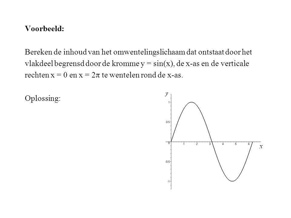 Voorbeeld: Bereken de inhoud van het omwentelingslichaam dat ontstaat door het vlakdeel begrensd door de kromme y = sin(x), de x-as en de verticale re