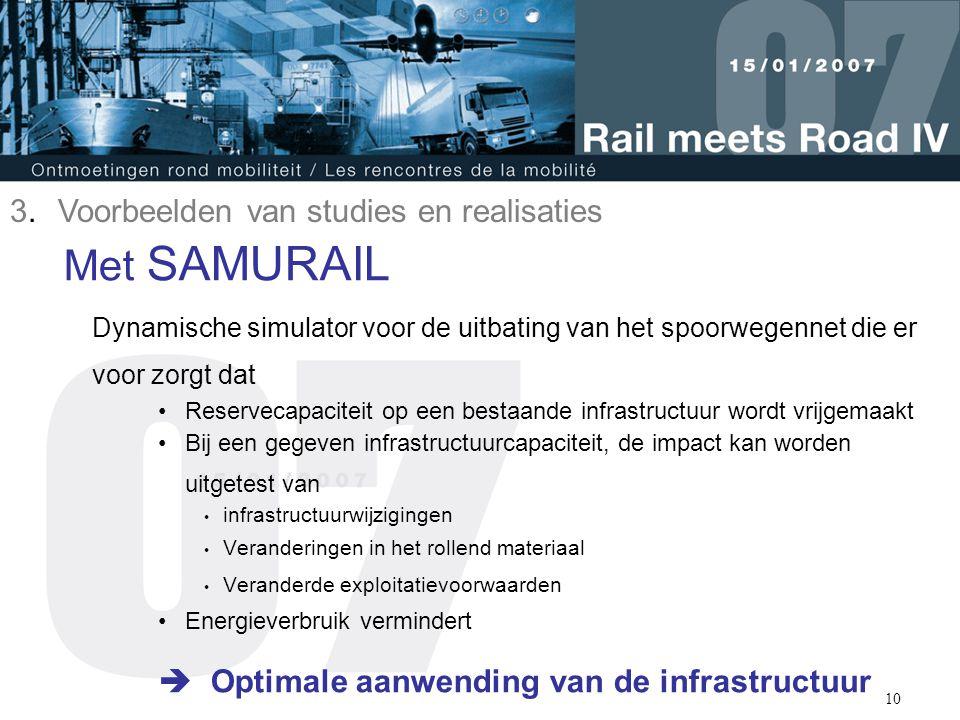10 Met SAMURAIL Dynamische simulator voor de uitbating van het spoorwegennet die er voor zorgt dat Reservecapaciteit op een bestaande infrastructuur w