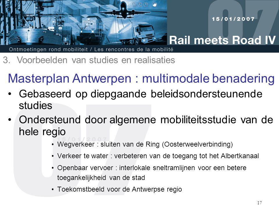 17 Masterplan Antwerpen : multimodale benadering Gebaseerd op diepgaande beleidsondersteunende studies Ondersteund door algemene mobiliteitsstudie van