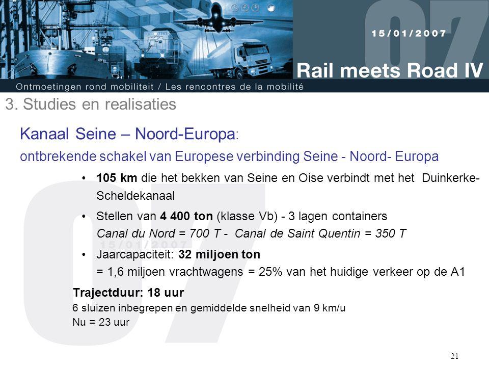 21 Kanaal Seine – Noord-Europa : ontbrekende schakel van Europese verbinding Seine - Noord- Europa 105 km die het bekken van Seine en Oise verbindt me
