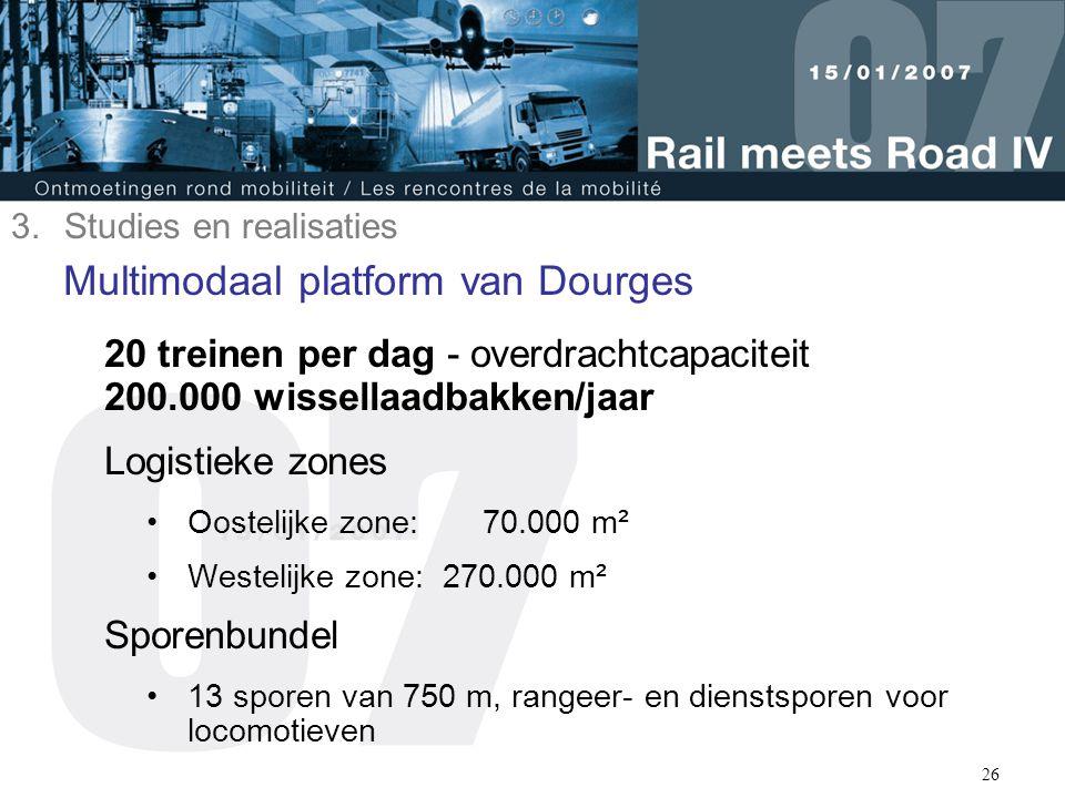 26 Multimodaal platform van Dourges 20 treinen per dag - overdrachtcapaciteit 200.000 wissellaadbakken/jaar Logistieke zones Oostelijke zone: 70.000 m