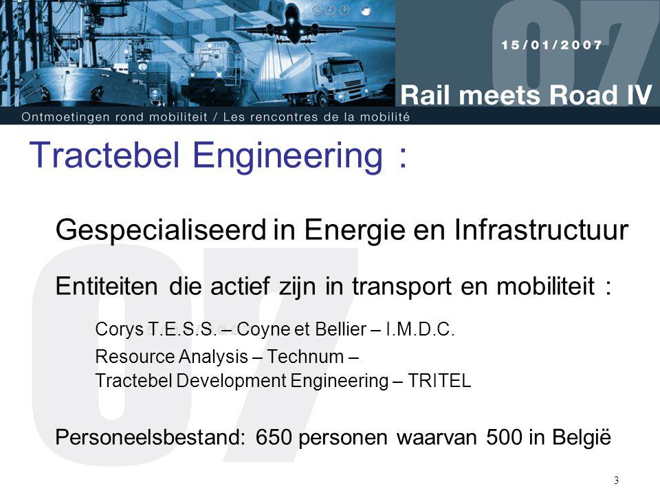 3 Tractebel Engineering : Gespecialiseerd in Energie en Infrastructuur Entiteiten die actief zijn in transport en mobiliteit : Corys T.E.S.S. – Coyne