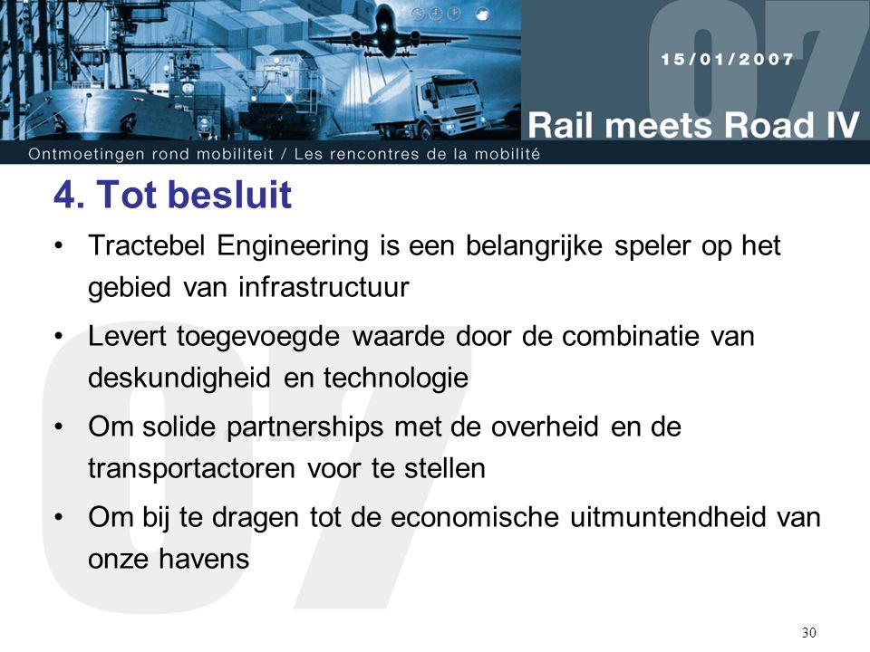 30 4. Tot besluit Tractebel Engineering is een belangrijke speler op het gebied van infrastructuur Levert toegevoegde waarde door de combinatie van de