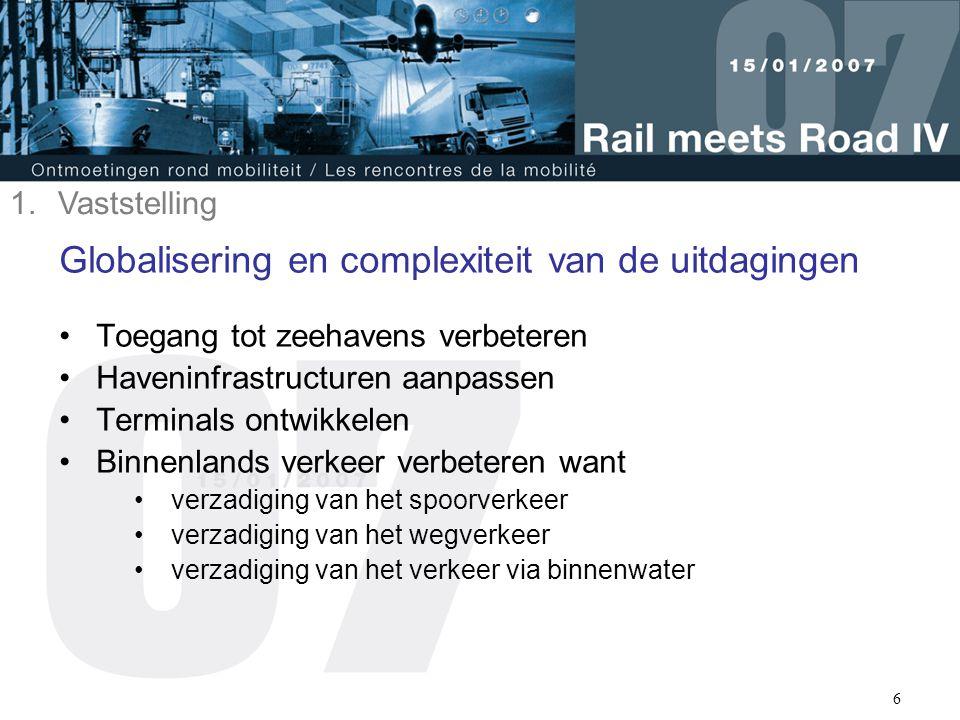 6 Globalisering en complexiteit van de uitdagingen Toegang tot zeehavens verbeteren Haveninfrastructuren aanpassen Terminals ontwikkelen Binnenlands v