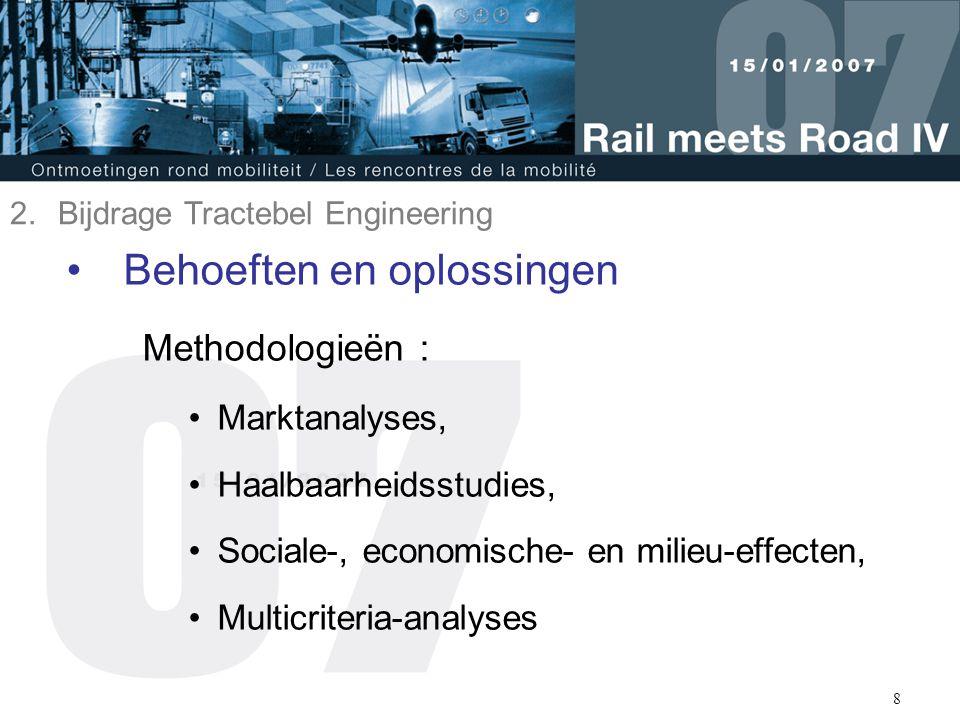 8 Behoeften en oplossingen Methodologieën : Marktanalyses, Haalbaarheidsstudies, Sociale-, economische- en milieu-effecten, Multicriteria-analyses 2.B