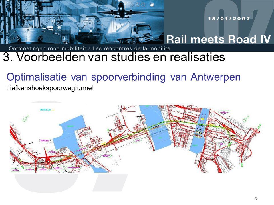 9 Optimalisatie van spoorverbinding van Antwerpen Liefkenshoekspoorwegtunnel 3. Voorbeelden van studies en realisaties