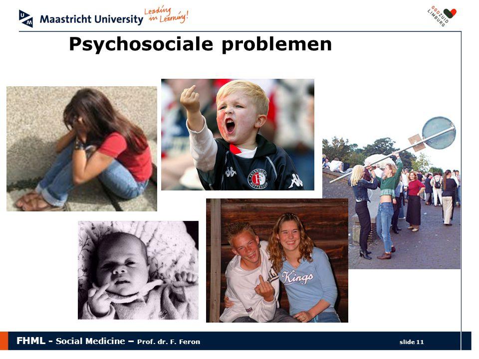 FHML - Social Medicine – Prof. dr. F. Feron slide 11 Psychosociale problemen