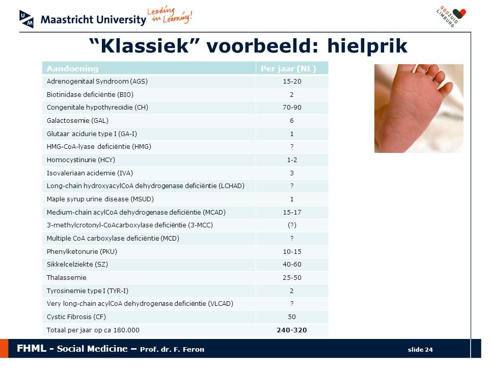 """FHML - Social Medicine – Prof. dr. F. Feron slide 24 """"Klassiek"""" voorbeeld: hielprik AandoeningPer jaar (NL) Adrenogenitaal Syndroom (AGS)15-20 Biotini"""
