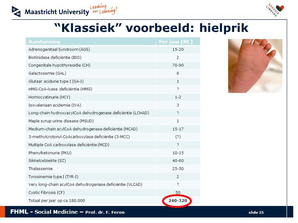 """FHML - Social Medicine – Prof. dr. F. Feron slide 25 """"Klassiek"""" voorbeeld: hielprik AandoeningPer jaar (NL) Adrenogenitaal Syndroom (AGS)15-20 Biotini"""