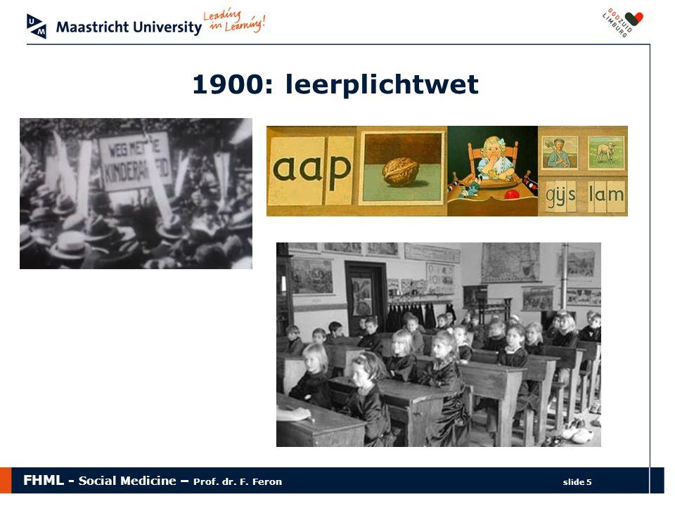 FHML - Social Medicine – Prof. dr. F. Feron slide 5 1900: leerplichtwet