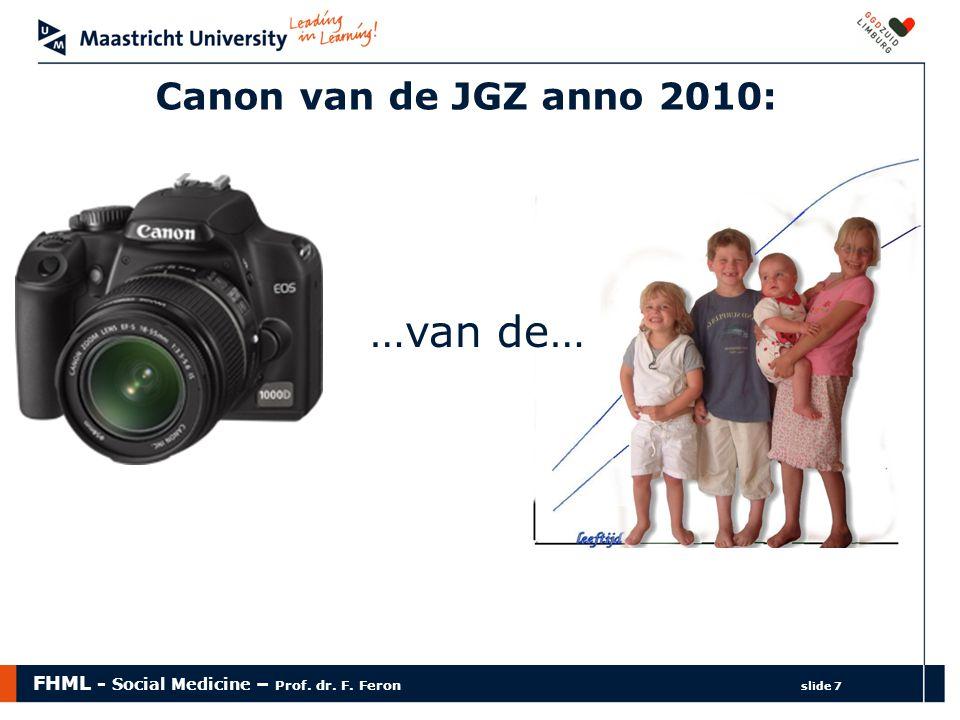FHML - Social Medicine – Prof. dr. F. Feron slide 7 …van de… Canon van de JGZ anno 2010:
