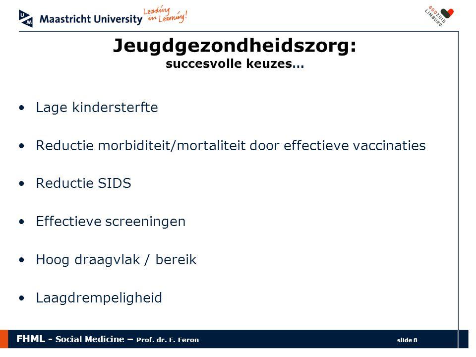 FHML - Social Medicine – Prof. dr. F. Feron slide 8 Jeugdgezondheidszorg: succesvolle keuzes… Lage kindersterfte Reductie morbiditeit/mortaliteit door