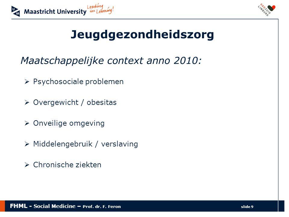 FHML - Social Medicine – Prof. dr. F. Feron slide 9 Jeugdgezondheidszorg Maatschappelijke context anno 2010:  Psychosociale problemen  Overgewicht /