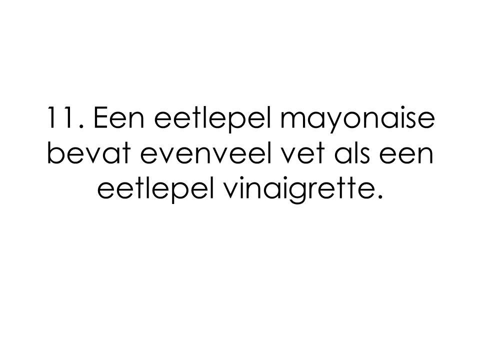 11. Een eetlepel mayonaise bevat evenveel vet als een eetlepel vinaigrette.