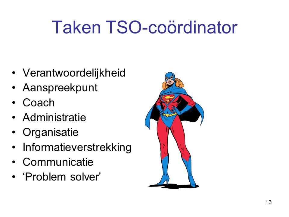 13 Taken TSO-coördinator Verantwoordelijkheid Aanspreekpunt Coach Administratie Organisatie Informatieverstrekking Communicatie 'Problem solver'