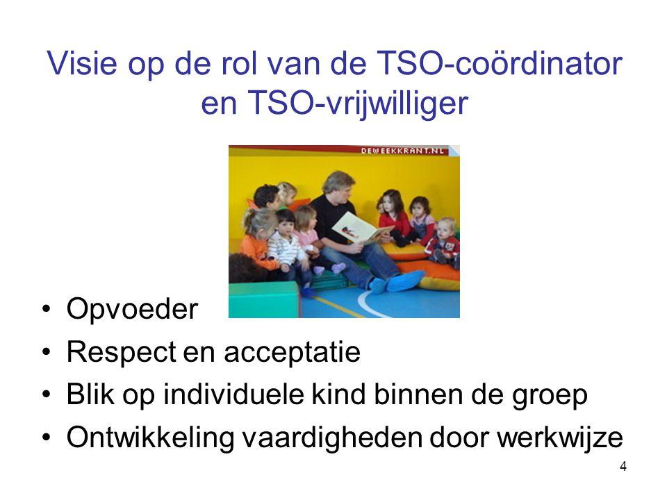 4 Visie op de rol van de TSO-coördinator en TSO-vrijwilliger Opvoeder Respect en acceptatie Blik op individuele kind binnen de groep Ontwikkeling vaar
