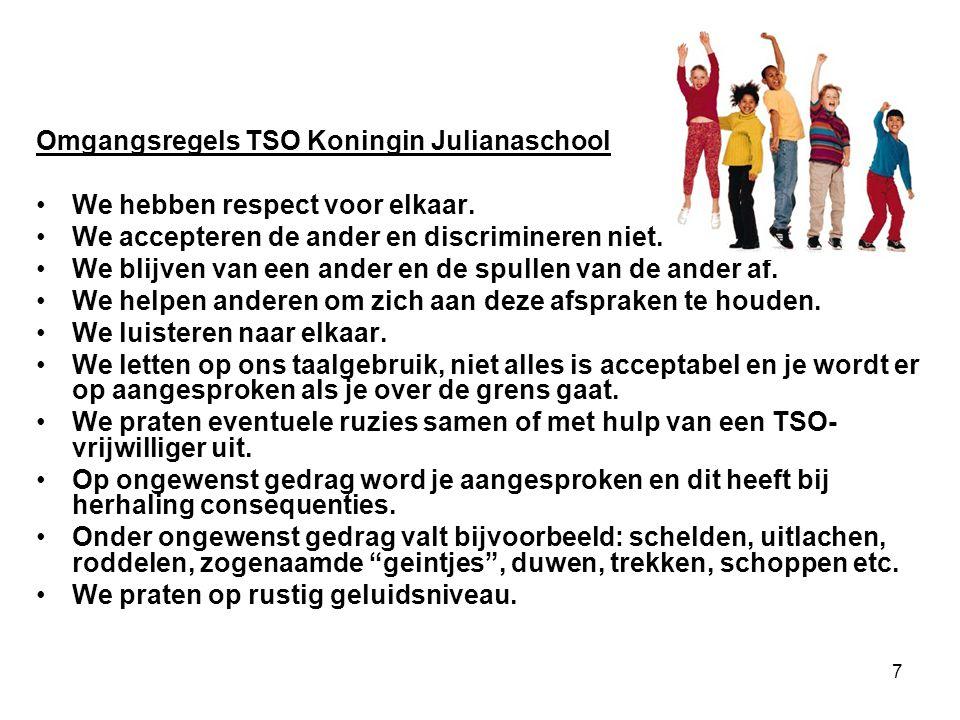7 Omgangsregels TSO Koningin Julianaschool We hebben respect voor elkaar. We accepteren de ander en discrimineren niet. We blijven van een ander en de