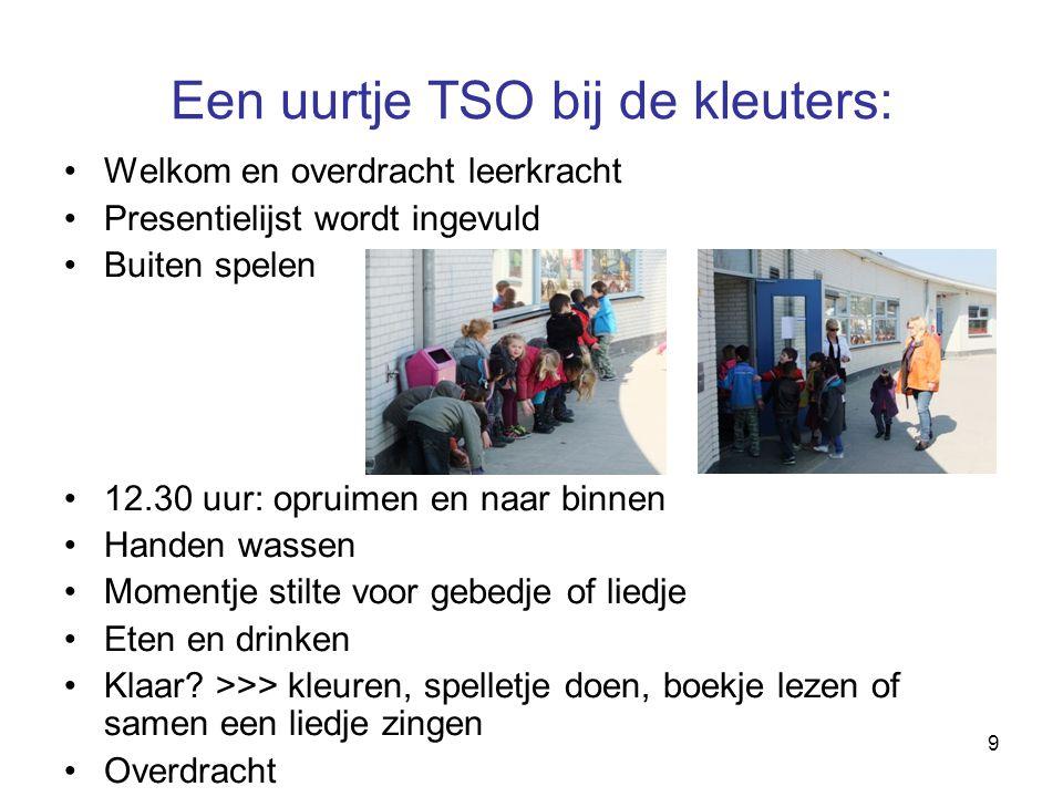 9 Een uurtje TSO bij de kleuters: Welkom en overdracht leerkracht Presentielijst wordt ingevuld Buiten spelen 12.30 uur: opruimen en naar binnen Hande