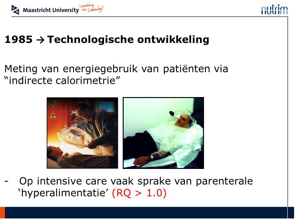 """1985 → Technologische ontwikkeling Meting van energiegebruik van patiënten via """"indirecte calorimetrie"""" - Op intensive care vaak sprake van parenteral"""