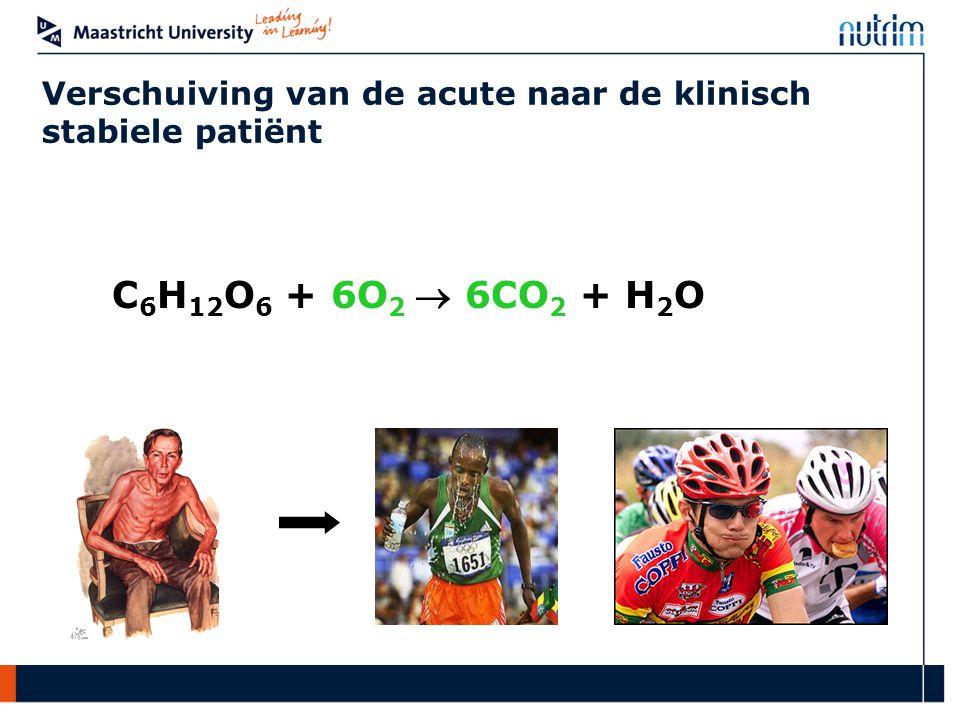 C 6 H 12 O 6 + 6O 2  6CO 2 + H 2 O Verschuiving van de acute naar de klinisch stabiele patiënt
