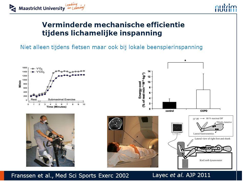 Niet alleen tijdens fietsen maar ook bij lokale beenspierinspanning Layec et al. AJP 2011 Verminderde mechanische efficientie tijdens lichamelijke ins