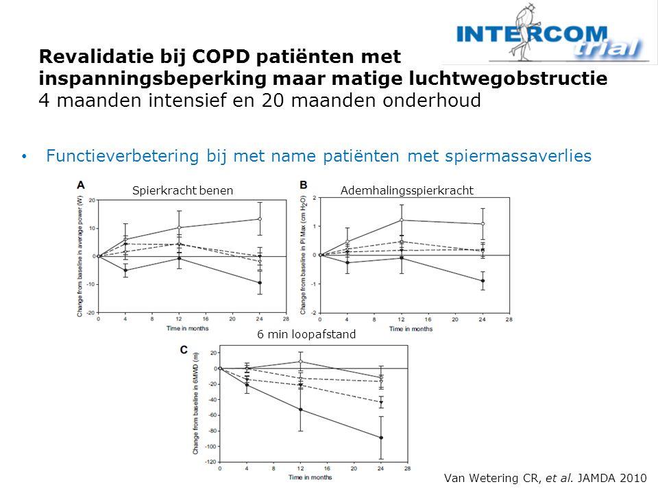 Functieverbetering bij met name patiënten met spiermassaverlies Revalidatie bij COPD patiënten met inspanningsbeperking maar matige luchtwegobstructie 4 maanden intensief en 20 maanden onderhoud Van Wetering CR, et al.