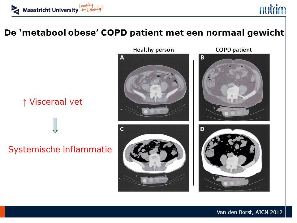 De 'metabool obese' COPD patient met een normaal gewicht ↑ Visceraal vet Systemische inflammatie Van den Borst, AJCN 2012