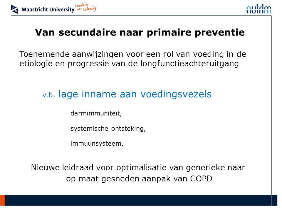 Van secundaire naar primaire preventie Toenemende aanwijzingen voor een rol van voeding in de etiologie en progressie van de longfunctieachteruitgang v.b.