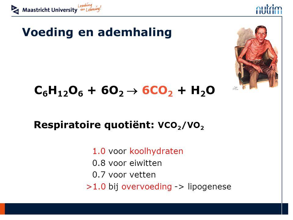 C 6 H 12 O 6 + 6O 2  6CO 2 + H 2 O Voeding en ademhaling Respiratoire quotiënt: VCO 2 /VO 2 1.0 voor koolhydraten 0.8 voor eiwitten 0.7 voor vetten >1.0 bij overvoeding -> lipogenese