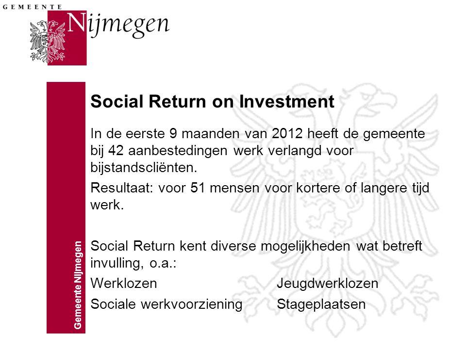 Gemeente Nijmegen Social Return on Investment In de eerste 9 maanden van 2012 heeft de gemeente bij 42 aanbestedingen werk verlangd voor bijstandsclië
