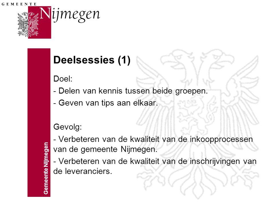 Gemeente Nijmegen Deelsessies (1) Doel: - Delen van kennis tussen beide groepen. - Geven van tips aan elkaar. Gevolg: - Verbeteren van de kwaliteit va