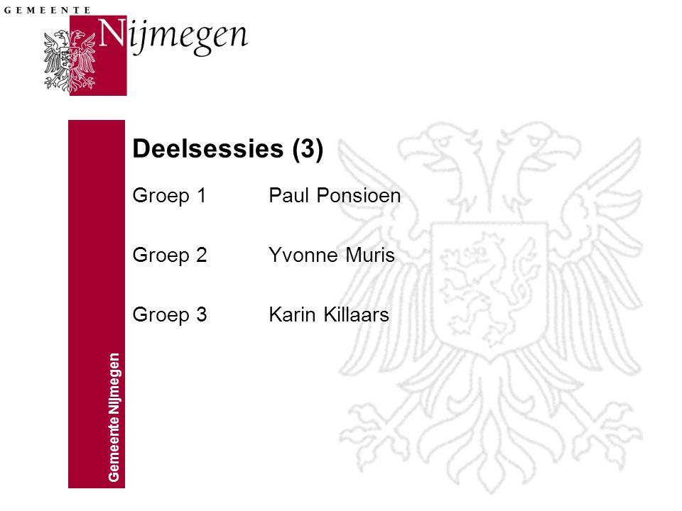 Gemeente Nijmegen Deelsessies (3) Groep 1Paul Ponsioen Groep 2Yvonne Muris Groep 3Karin Killaars