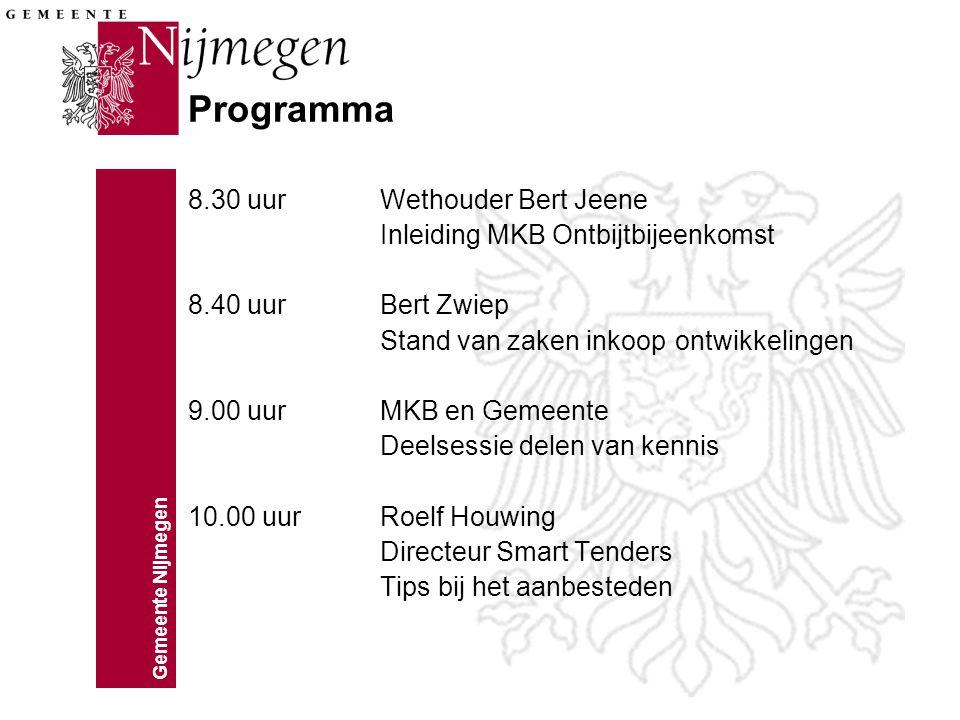 Gemeente Nijmegen Programma 8.30 uurWethouder Bert Jeene Inleiding MKB Ontbijtbijeenkomst 8.40 uurBert Zwiep Stand van zaken inkoop ontwikkelingen 9.00 uurMKB en Gemeente Deelsessie delen van kennis 10.00 uurRoelf Houwing Directeur Smart Tenders Tips bij het aanbesteden