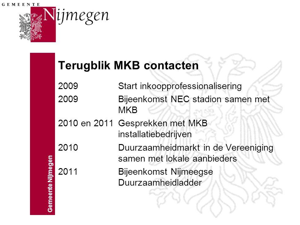 Terugblik MKB contacten 2009 Start inkoopprofessionalisering 2009Bijeenkomst NEC stadion samen met MKB 2010 en 2011Gesprekken met MKB installatiebedrijven 2010Duurzaamheidmarkt in de Vereeniging samen met lokale aanbieders 2011Bijeenkomst Nijmeegse Duurzaamheidladder
