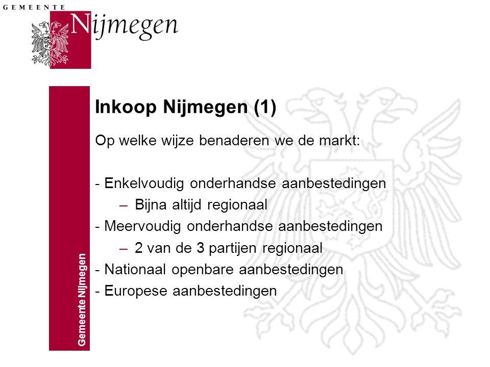 Gemeente Nijmegen Inkoop Nijmegen (1) Op welke wijze benaderen we de markt: - Enkelvoudig onderhandse aanbestedingen –Bijna altijd regionaal - Meervou