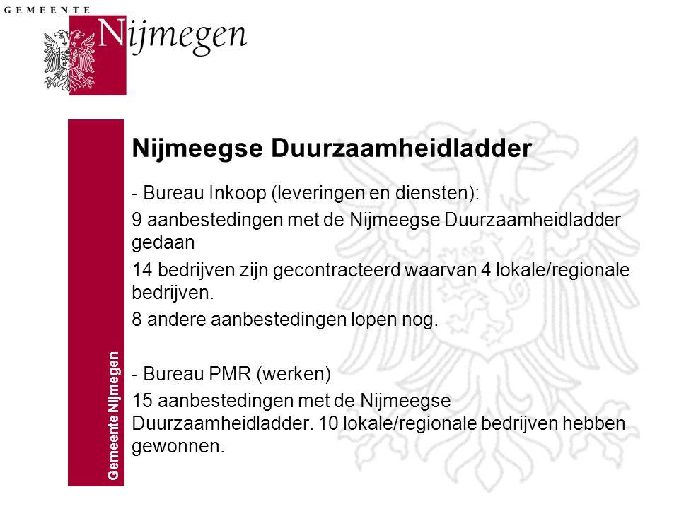Gemeente Nijmegen Social Return on Investment In de eerste 9 maanden van 2012 heeft de gemeente bij 42 aanbestedingen werk verlangd voor bijstandscliënten.