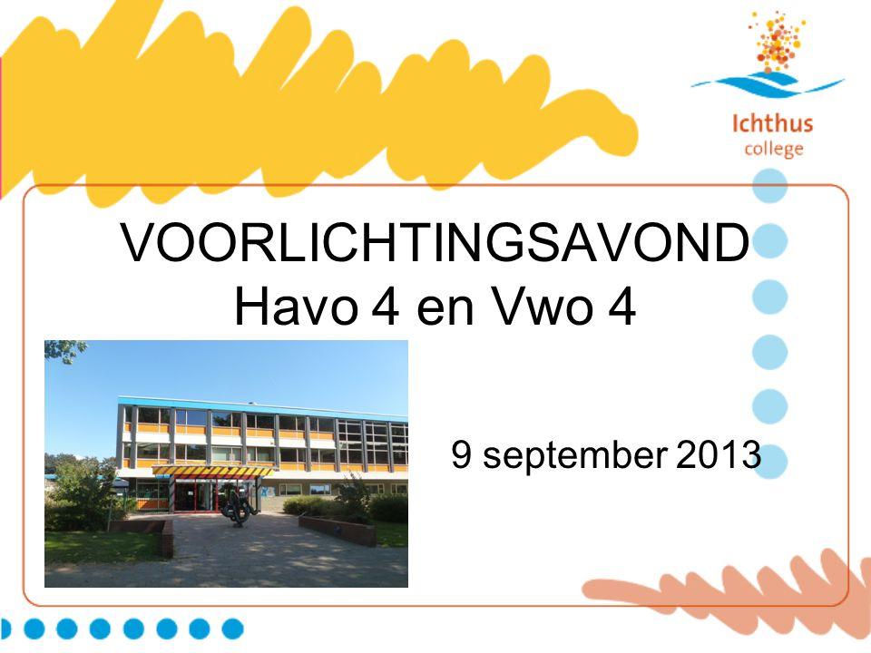 VOORLICHTINGSAVOND Havo 4 en Vwo 4 9 september 2013