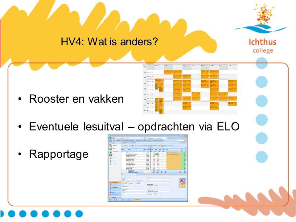 HV4: Wat is anders? Rooster en vakken Eventuele lesuitval – opdrachten via ELO Rapportage