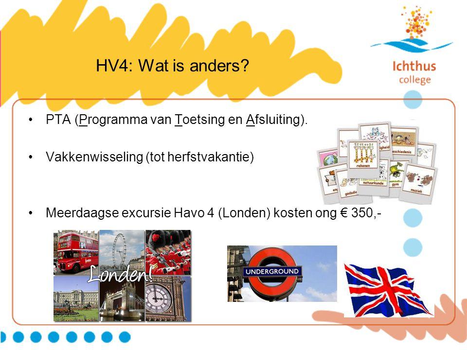 HV4: Wat is anders? PTA (Programma van Toetsing en Afsluiting). Vakkenwisseling (tot herfstvakantie) Meerdaagse excursie Havo 4 (Londen) kosten ong €