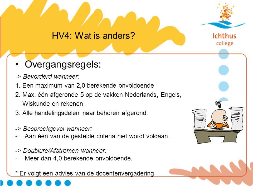 HV4: Wat is anders? Overgangsregels: -> Bevorderd wanneer: 1. Een maximum van 2,0 berekende onvoldoende 2. Max. één afgeronde 5 op de vakken Nederland