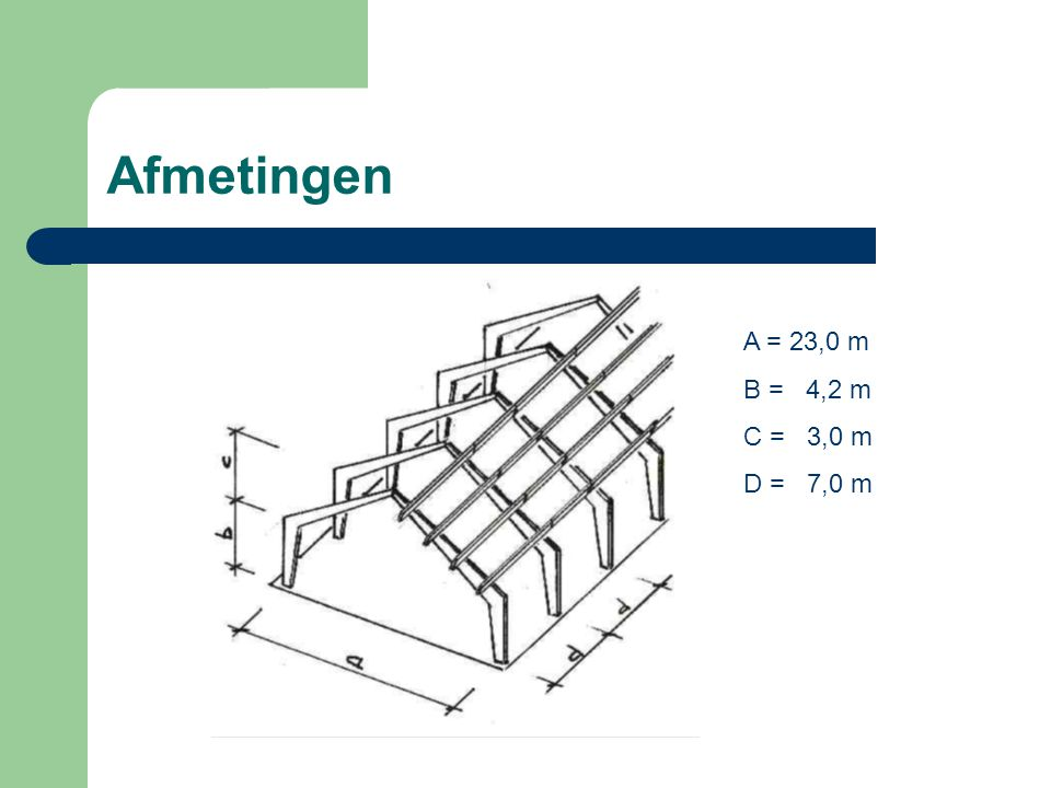 Krachtwerking 3-scharnierenspant Beschouw het linkerdeel A-S FAh*7,2-52,32*11,5+48,3*5,75=0 FAh = 45 kN Beschouw het rechterdeel B-S 60,38*11,5-64,4*5,75-FBh*7,2 = 0 FBh = 45 kN Som van de horizontale krachten = 0 FAh – FBh = 0  45 – 45 = 0 Scharnierkrachten: S2v = 64,4 - 60,38 = 4,02 kN S1v = 48,3 – 52,32 = - 4,02 kN S2v – S1v = 4,02 -4,02 = 0