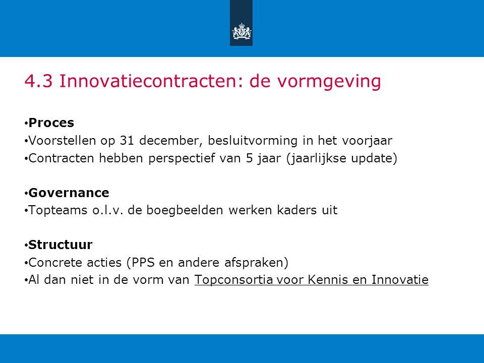 4.3 Innovatiecontracten: de vormgeving Proces Voorstellen op 31 december, besluitvorming in het voorjaar Contracten hebben perspectief van 5 jaar (jaa