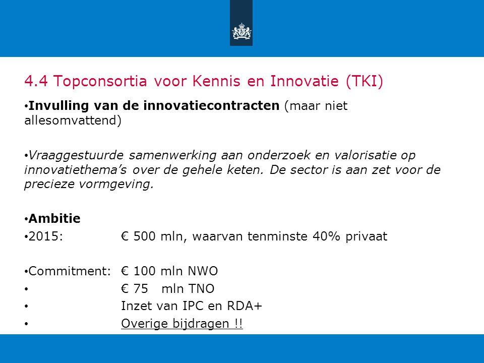 4.4 Topconsortia voor Kennis en Innovatie (TKI) Invulling van de innovatiecontracten (maar niet allesomvattend) Vraaggestuurde samenwerking aan onderz